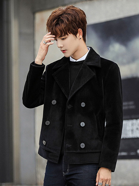 Image of Men Wool Jacket Notch Collar Double Breasted Long Sleeve Casual Jacket