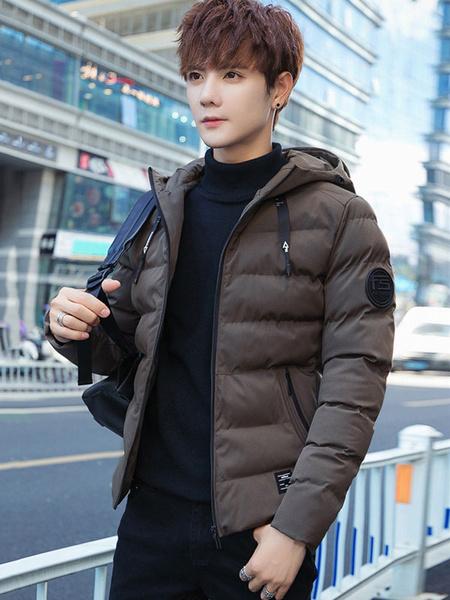 Image of Men Down Jacket Plus Size Hooded Winter Jacket Drawstring Zipper Padded Coat