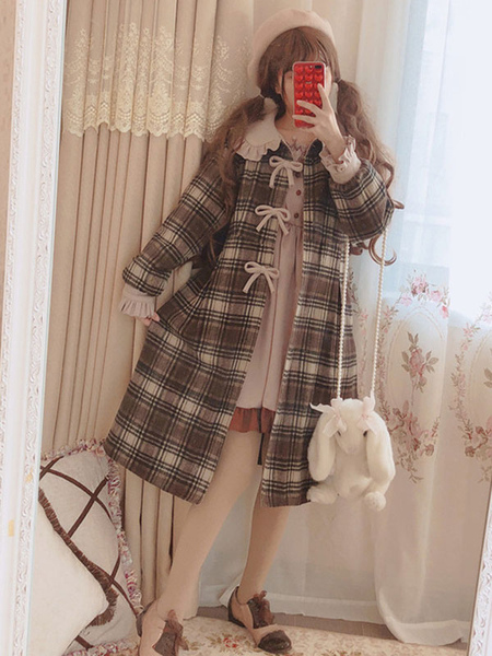 Manteau classique Lolita Manteau carreaux carreaux et volants Manteau en laine Lolita brun Dguisements Halloween - Milanoo FR - Modalova