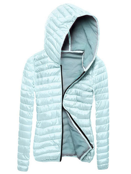 Image of Women Puffer Coat Hooded Long Sleeve Bubble Coat Full Zip Quilted Jacket For Winter