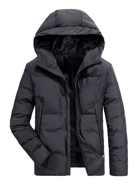 Image of Men Puffer Coat Hooded Plus Size Quilted Coat Cotton Fill Zipper Drawstring Padded Winter Overcoat