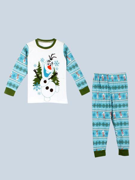 Kids Christmas Pajamas Holiday Home White Snowman Printed Top And Pants 2 Piece Set Halloween