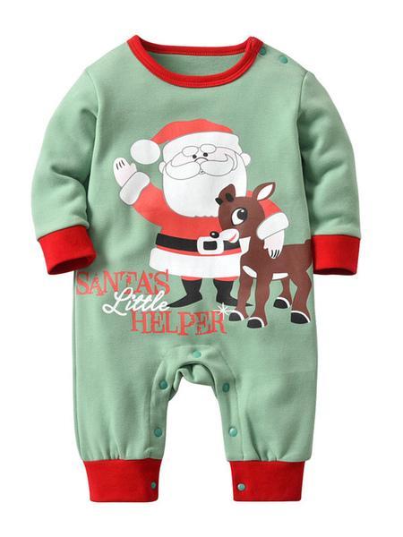 Baby Christmas Pajamas Holiday Home Santa Clause Printed Jumpsuit Halloween