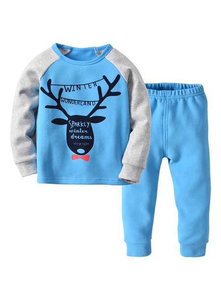 Kids Christmas Pajamas Blue Holiday Home Printed Top And Pants Set Halloween