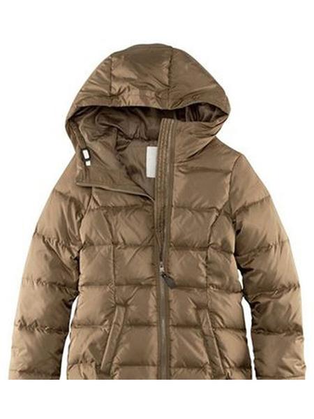 Image of Women Down Jacket Hooded Winter Coat Full Zip Duck Down Fill Puffer Jacket