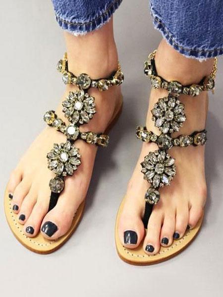 Image of Black Boho Sandals Suede Thong Detail Rhinestones Strappy Flat Sandals Women Gladiator Sandals