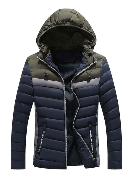 Image of Men Puffer Jacket Color Block Hooded Casual Winter Jacket Zipper Cotton Fill Long Sleeve Quilted Coat