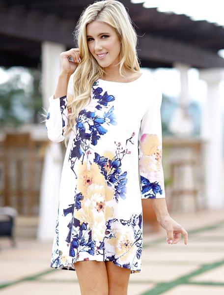 Image of Floral Shift Dress White Round Neck Printed Mini Dress