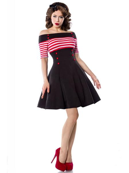 Image of Vintage 1950s Dress Women Off Shoulder Stripes Button Front Half Sleeve Swing Dresses