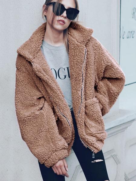 Image of Teddy Bear Coat Faux Fur Jacket Wool Long Sleeve Shearling Jacket Light Tan Winter Coat For Women