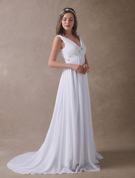 Milanoo Robe de mariée à la plage blanche en chiffon col V jupe plissée à traîne robe de mariage - milanoo.com - Modalova