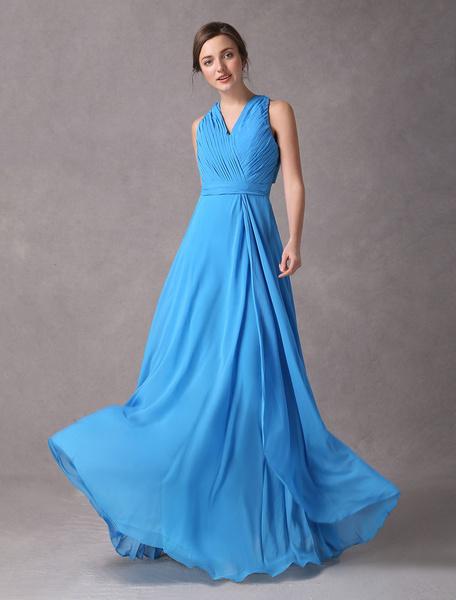 Купить со скидкой Elegantes Abendkleid aus Chiffon mit V-Ausschnitt in Königsblau