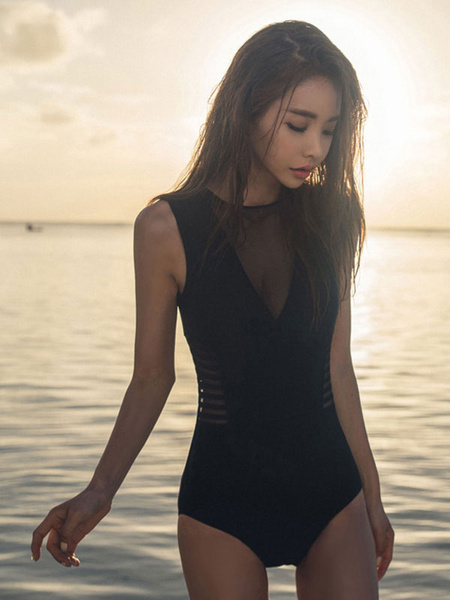Women Black Swimsuit Sleeveless Cut Out One Piece Swimwear