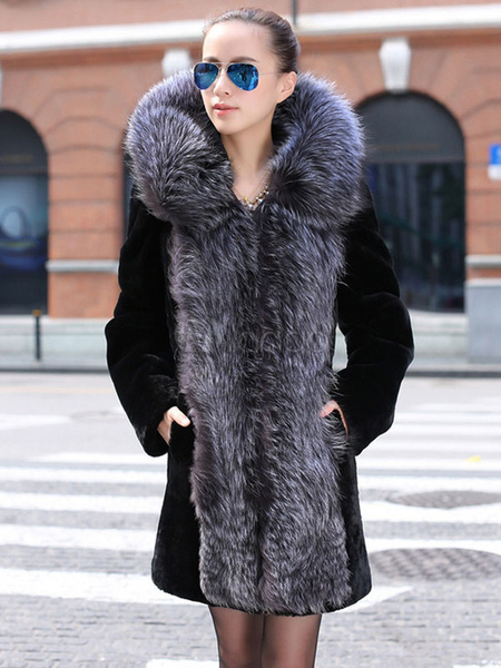 Image of Faux Fur Coat Two Tone Hooded Long Sleeve Oversized Winter Coat For Women