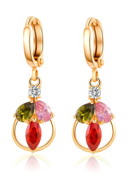 Gold Dangle Earrings Rhinestones Beaded Women's Pendant Earrings