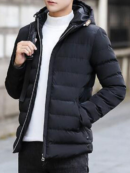 Image of Men Padded Jacket Hooded Puffer Jacket Zipper Long Sleeve Winter Overcoat