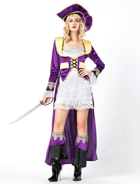 Pirate Costume Halloween Women Purple Dresses Set