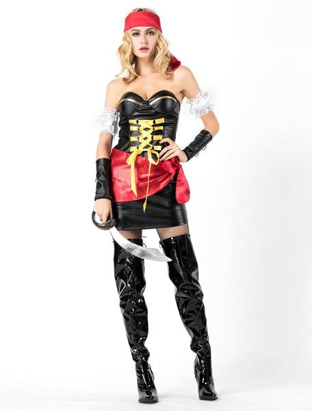 Sexy Pirate Costume Halloween Women Dresses Set