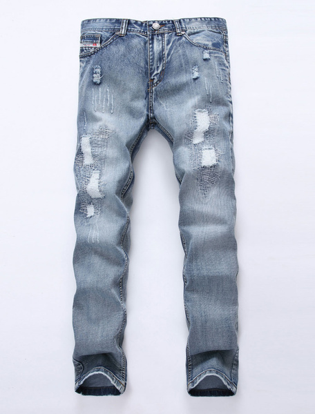 Image of Straight Leg Jeans Ripped Jean For Men Wash Distressed Light Blue Denim Jean Pant