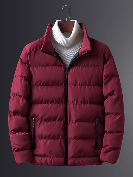 Image of Men Quilted Jacket Plus Size Winter Jacket Stand Collar Puffer Coat