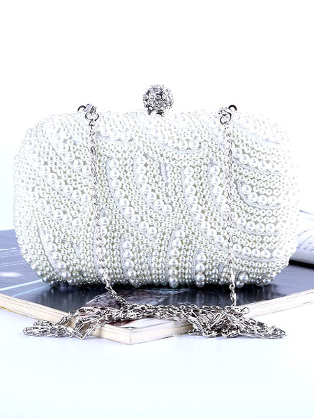 Pearls Clutch Bags Wedding Bridal Purse Beaded Evening Party Handbags (usa42219316) photo