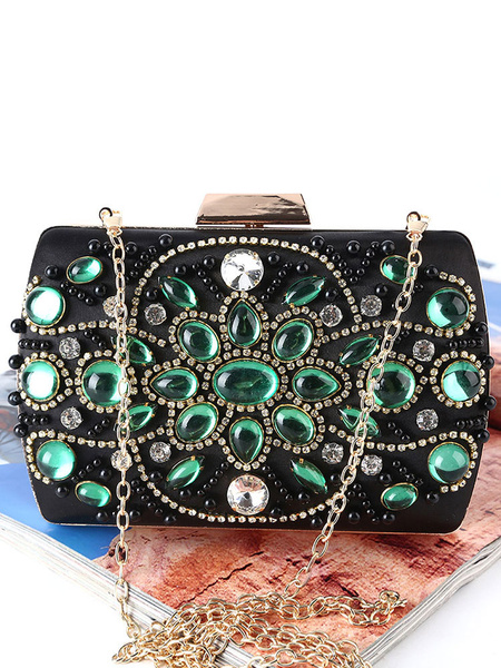 Clutch Bags Wedding Bridal Retro Purse Rhinestones Beaded Evening Handbags (usa42219256) photo