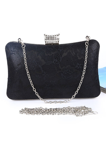 Lace Clutch Bags Wedding Bridal Purse Rhinestones Beaded Evening Handbags (usa42219276) photo