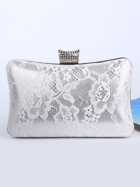 Lace Clutch Bags Wedding Bridal Purse Rhinestones Beaded Evening Handbags (usa42219274) photo