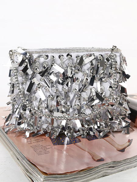 Silver Clutch Bags Wedding Purse Sequins Bridal Evening Party Handbags (usa42219732) photo