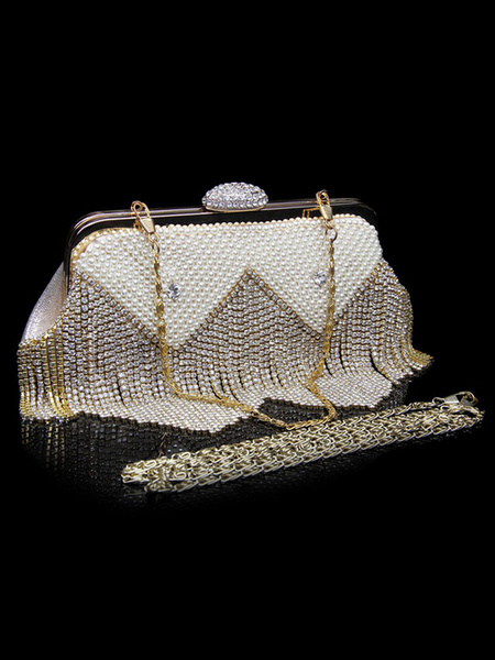 Wedding Clutch Bags Bridal Purse Gold Tassels Rhinestones Beaded Party Evening Handbags (usa42219718) photo