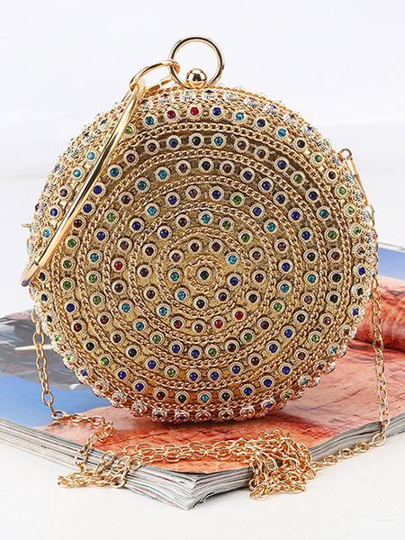 Gold Clutch Bags Round Ball Wedding Purse Bridal Rhinestone Beaded Evening Party Handbags (usa42219672) photo