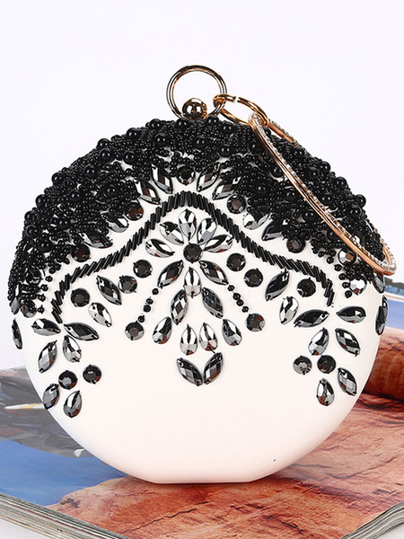 Black Clutch Bags Wedding Purse Round Bridal Rhinestone Beaded Evening Party Handbags (usa42219670) photo