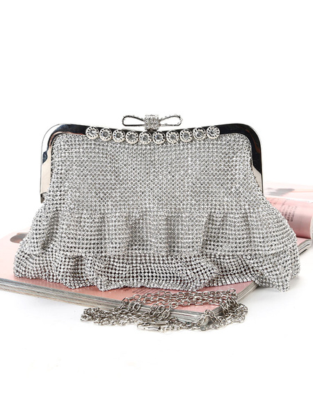 Wedding Clutch Bags Rhinestones Beaded Bridal Purse Evening Party Handbags (usa42219662) photo