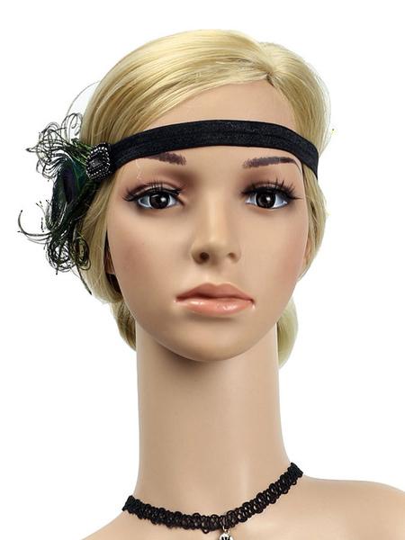 Image of Carnevale 1920s Great Gatsby Headband Feathers Women Flapper Headpieces Accessori per capelli retrò Costume Halloween