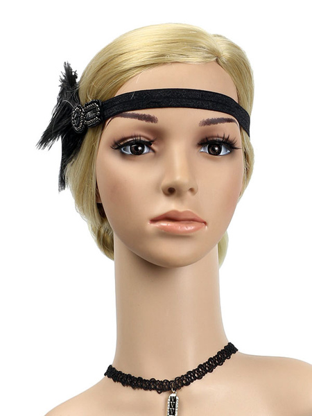 Image of Carnevale 1920s Great Gatsby Headband Retro Hair Accessories Feathers Women Flapper Headpieces Costume Halloween