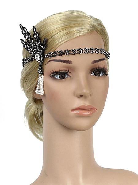 Image of Carnevale 1920s Great Gatsby Headband Flapper Headpieces Perle di strass Accessori per capelli da donna vintage Costume Halloween