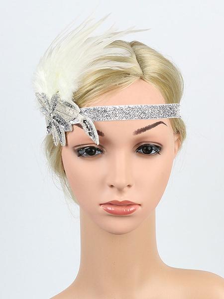 Image of Carnevale 1920s Great Gatsby Fascia paillettes piuma Flapper Copricapo Accessori per capelli donna retrò Costume Halloween