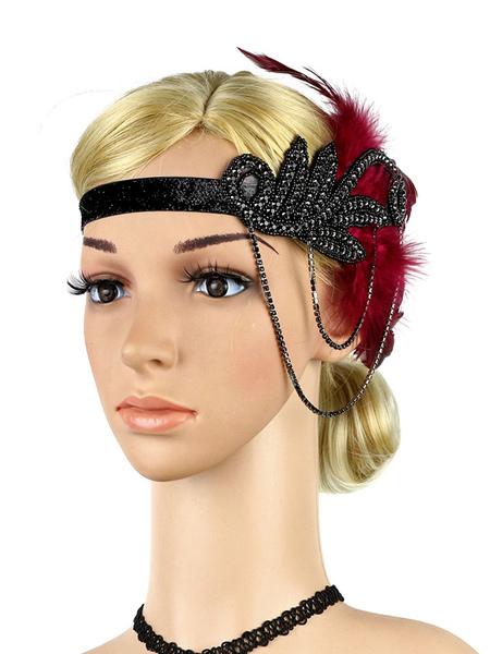 Image of Carnevale 1920s Great Gatsby Fascia per capelli con strass Piuma Donna Accessori per capelli retrò Fascia per capelli Costume Halloween