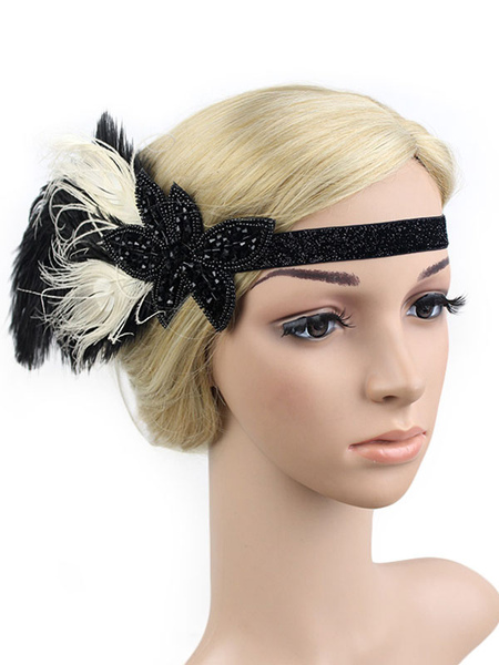Image of Carnevale 1920s Great Gatsby Headband Feather Flapper Headpieces Strass Women Retro Hair Accessories Costume Halloween