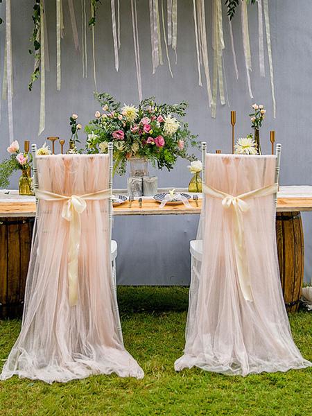 Image of Deco elegante della sedia di Tulle della fibra di poliestere delle decorazioni di nozze per il ricevimento nuziale