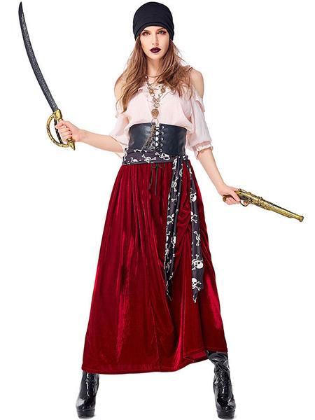 Halloween Costume Pirate Costumes Women\\'s Burgundy Sash Headband Holidays Costumes