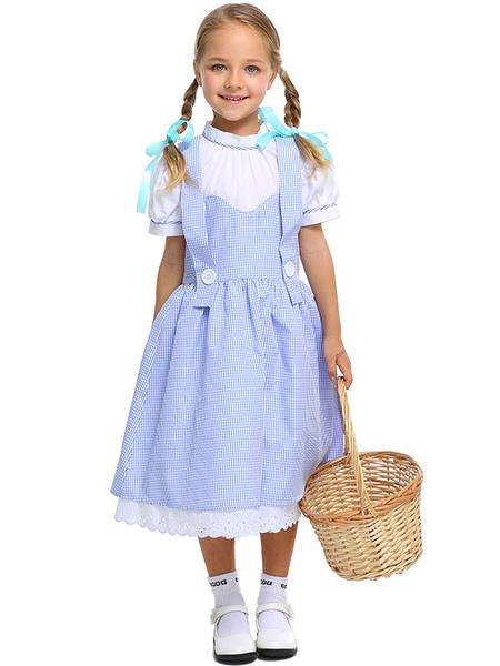 Milanoo Costumes d'Déguisements Halloween Enfants Wizard Of OZ Cosplay Baby Blue Headwear Dress Coton Enfants Cosplay Costumes