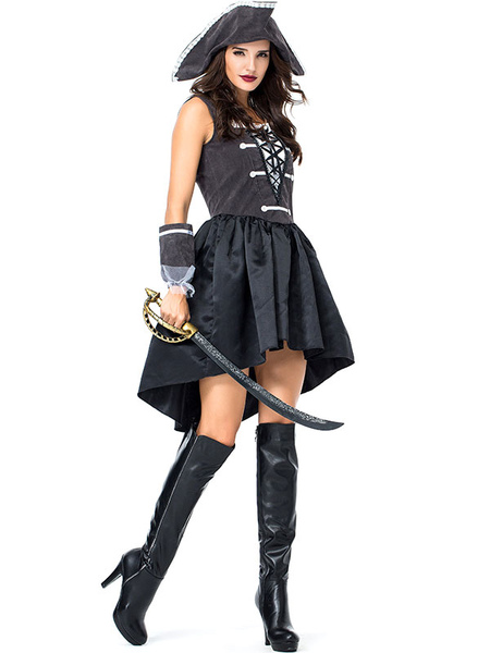 Pirate Costume Halloween Black Pirate Lace Up Dress Hat Carnival Costumes