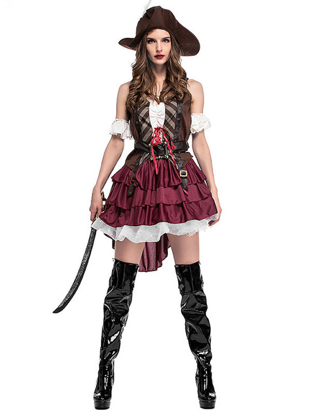 Carnival Costume Pirate Costumes Women\\'s Coffee Brown Hat Overskirt Top Holidays Costumes