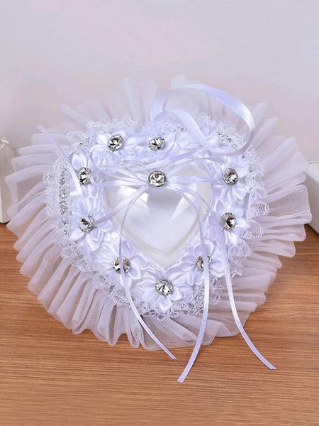 Image of Cuscino per anello da cerimonia nuziale in pizzo bianco