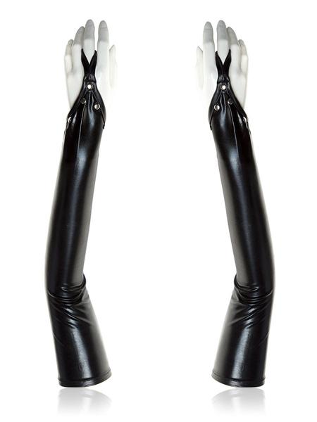Image of Carnevale Guanti da donna Zentai Guanti sexy in vernice nera metallizzata lucida Halloween