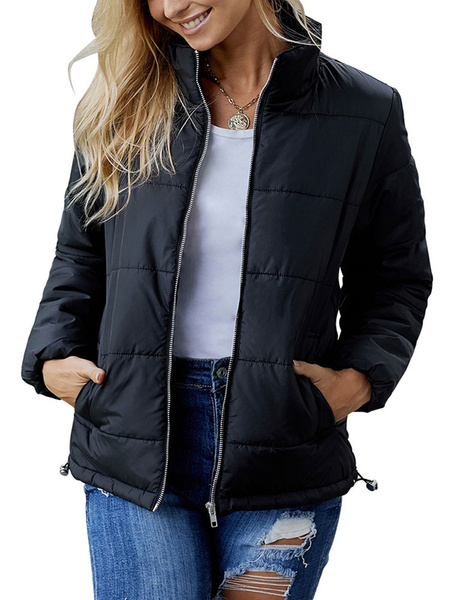 Image of Women Padded Coat Long Sleeve Bubble Coat Full Zip Winter Coat