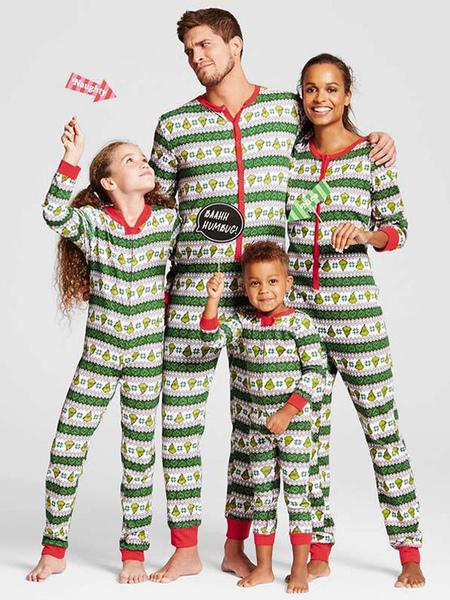 Christmas Matching Family Pajamas Green Christmas Pattern Jumpsuit