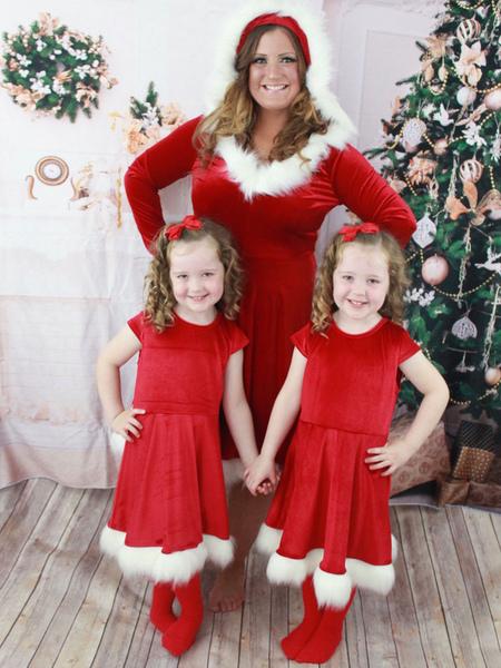 Family Christmas Pajamas Santa Clause Furry Red Costume Dress