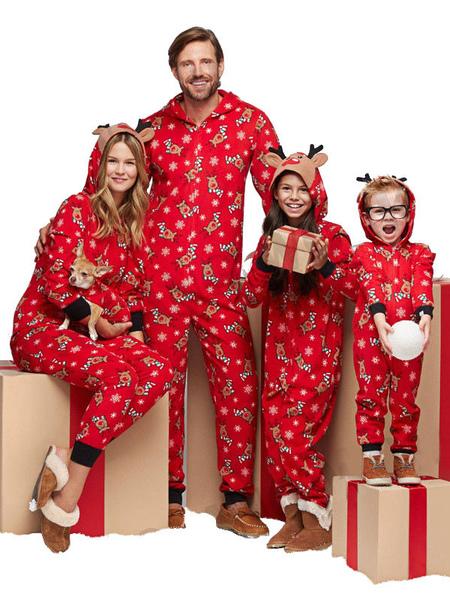 Family Christmas Pajamas Christmas Pattern Red Family Sleepwear Jumpsuit